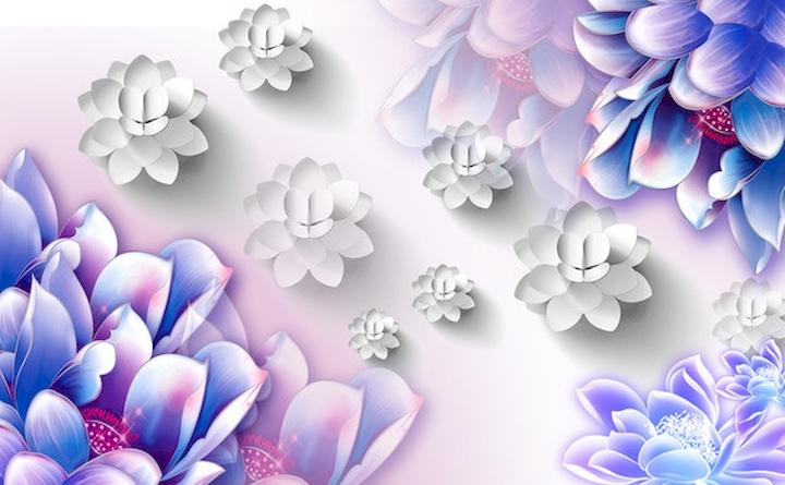 """3D Фотообои  """"Объемные бутоны синих цветов"""""""