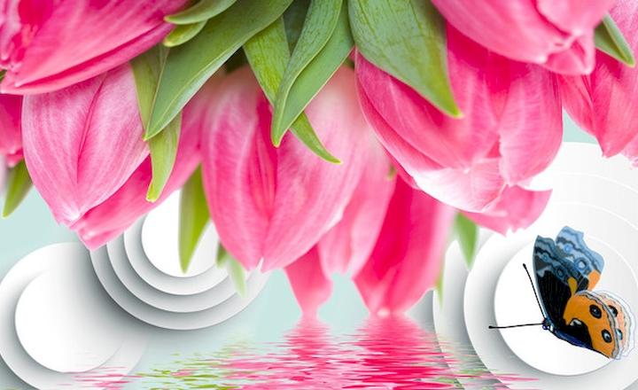 """3D Фотообои  """"Объемные тюльпаны с бабочкой"""""""