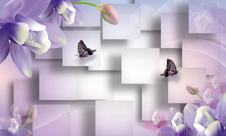 """3D Фотообои  """"Сиреневые цветы с бабочками"""""""