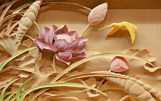 """3D Фотообои  """"Цветы с тиснением"""""""