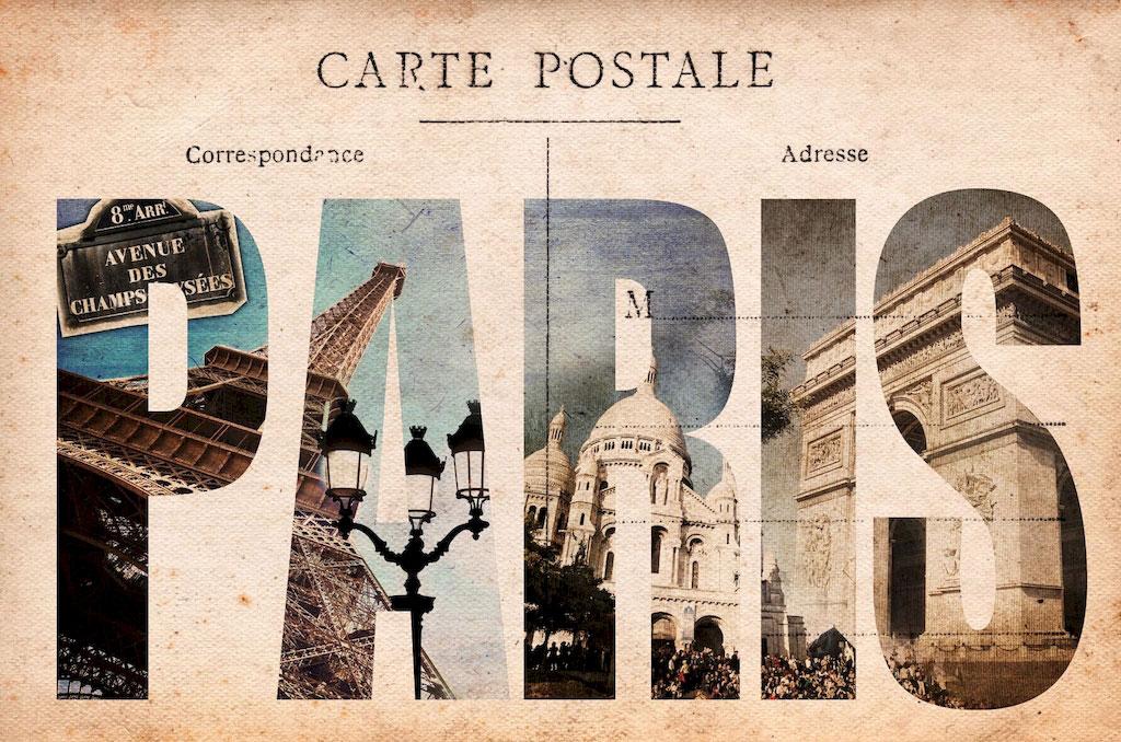 """Фотообои """"3D Фотообои  """"Открытка Париж"""" """""""