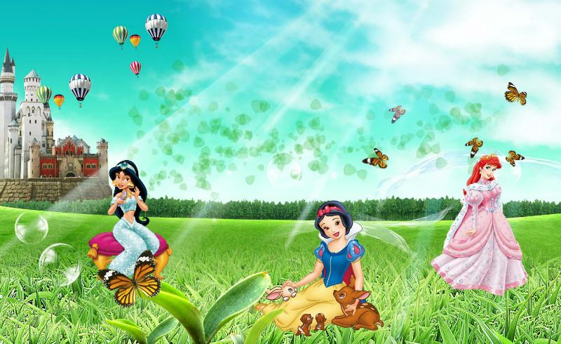 """Детские 3D Фотообои """"Принцессы Диснея"""""""