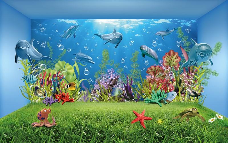Детские 3D Фотообои «Газон под водой»<br>kit: None; gender: None;
