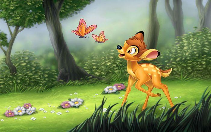 Детские 3D Фотообои «Бэмби и бабочки»<br>kit: None; gender: None;