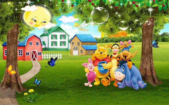 Детские 3D Фотообои «Винни Пух с друзьями на лужайке»<br>kit: None; gender: None;