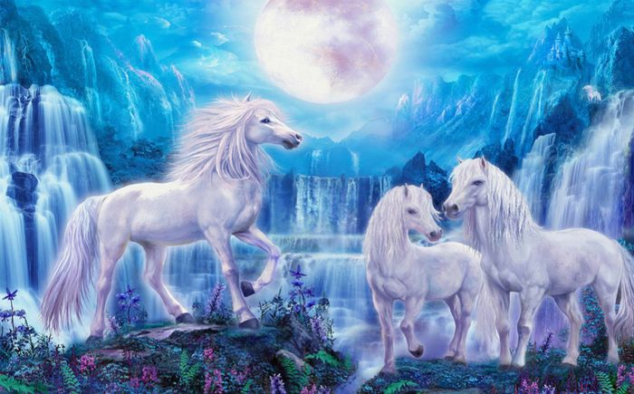 Детские 3D Фотообои «Сказочные белые лошади»<br>kit: None; gender: None;