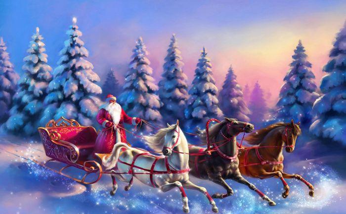 Детские 3D Фотообои «Дед Мороз и тройка лошадей»<br>kit: None; gender: None;