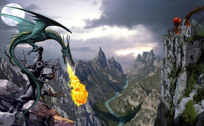 Детские 3D Фотообои «Дракон высоко в горах»<br>kit: None; gender: None;