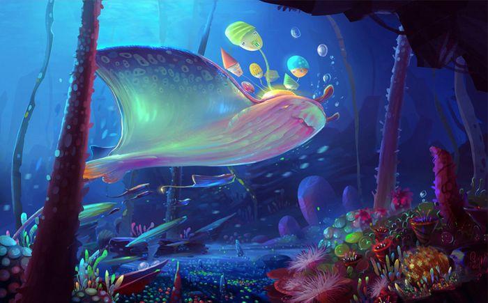 Детские 3D Фотообои «Морские глубоководные существа»<br>kit: None; gender: None;