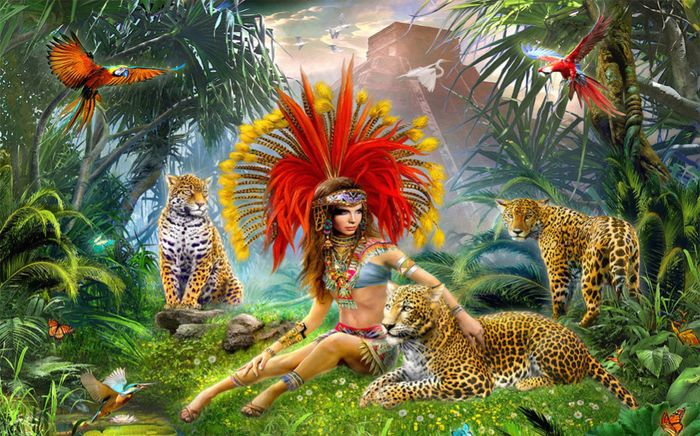 Детские 3D Фотообои «Леопарды в тропическом лесу»<br>kit: None; gender: None;