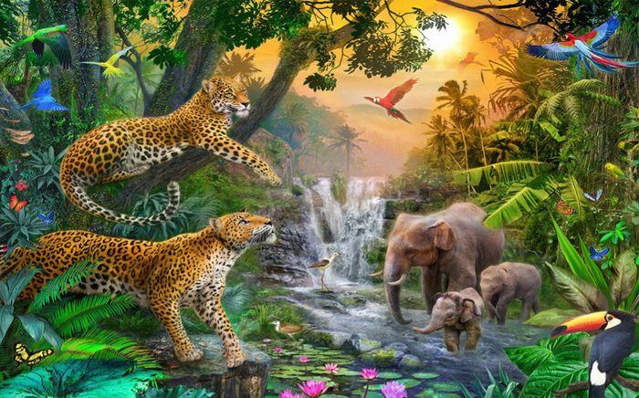 Детские 3D Фотообои «Тропический лес и его жители»<br>kit: None; gender: None;