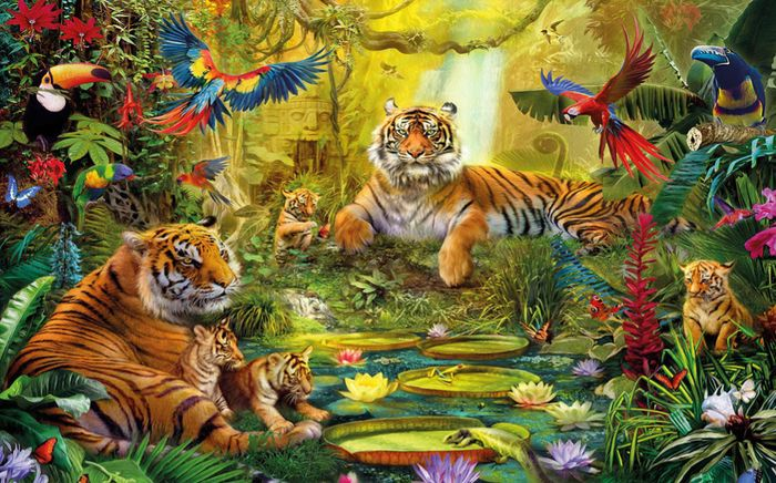 Детские 3D Фотообои «Сказочные тигры»<br>kit: None; gender: None;