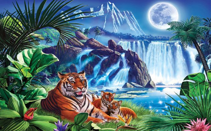 Детские 3D Фотообои «Тигры.Тропическая ночь»<br>kit: None; gender: None;