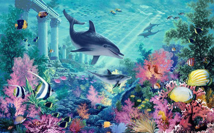 Детские 3D Фотообои «Сказачное дно океана»<br>kit: None; gender: None;