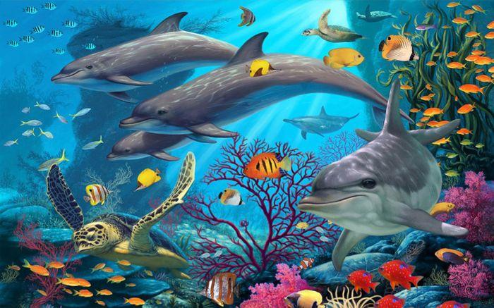 Детские 3D Фотообои «Дельфины в морских глубинах»<br>kit: None; gender: None;