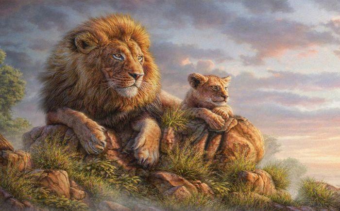 3D фотообои Детские  «Величественные львы» вид 1