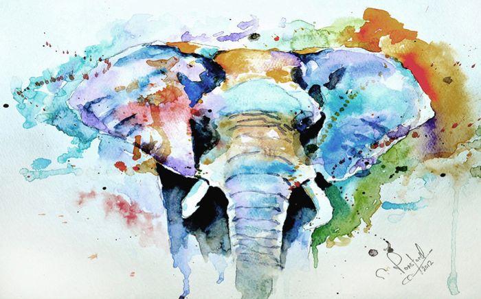 Детские 3D Фотообои «Слон. Акварель»<br>kit: None; gender: None;