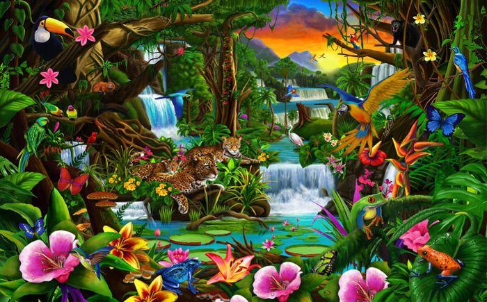 Детские 3D Фотообои «Тропический цветочный лес»<br>kit: None; gender: None;