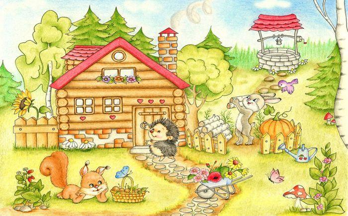 3D фотообои Детские  «Милые зверюшки и их дом» вид 1