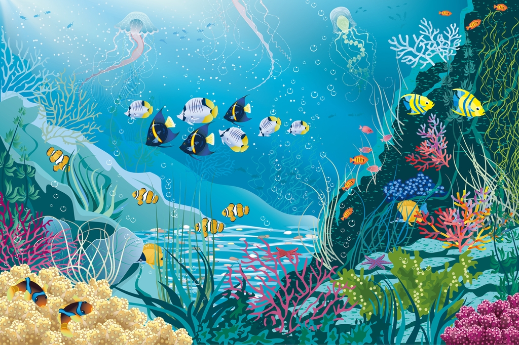 """Фотообои """"3D Фотообои  """"Подводные обитатели""""  Детские"""""""