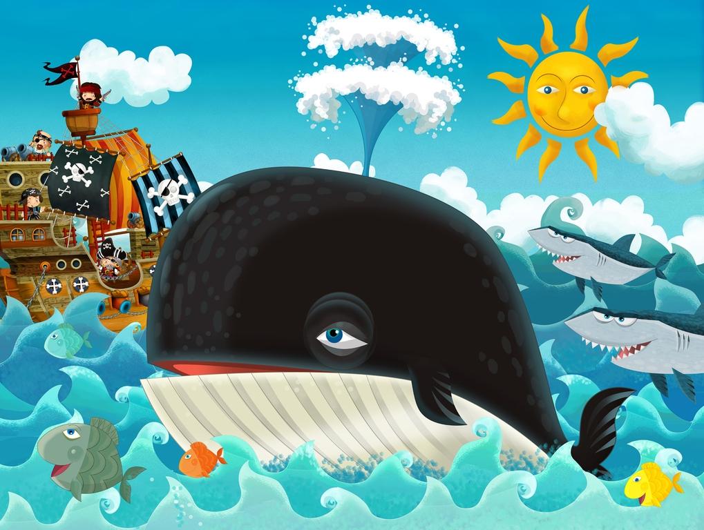 """3D Фотообои  """"Пираты и кит"""" Детские"""