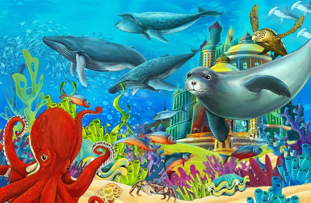 """3D Фотообои  """"Морские обитатели"""" Детские"""