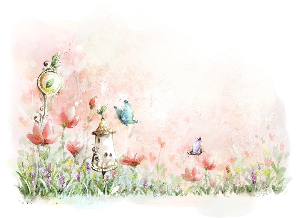 """3D Фотообои  """"Сказочные цветы""""  Детские"""