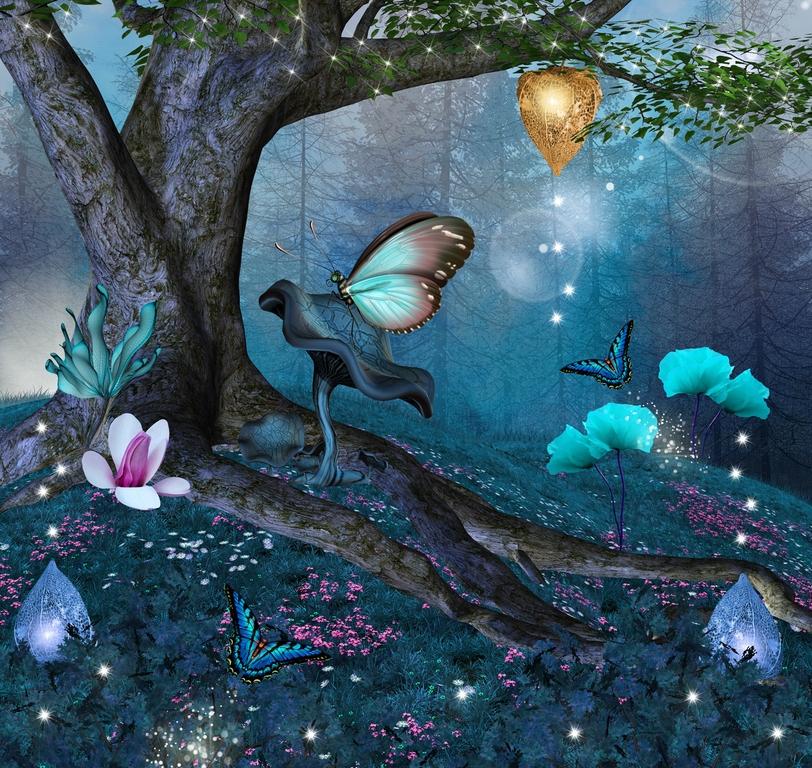 """3D Фотообои """"Волшебные бабочки"""" Детские"""