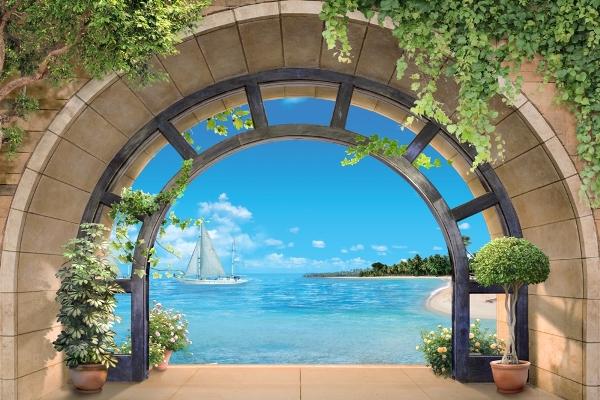 3D фотообои 3D Фотообои «Окно с видом на море» вид 1