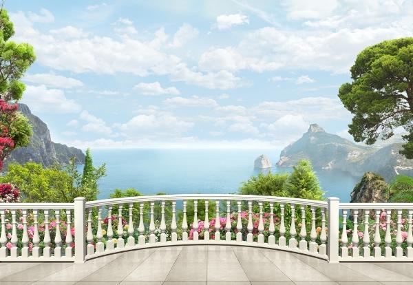 3D Фотообои «Балкон с видом на залив»