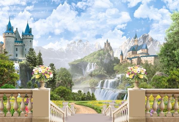 3D Фотообои «Замки в горах»