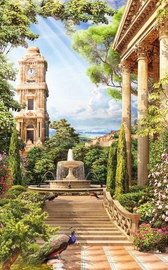 3D Фотообои «Античный сад»