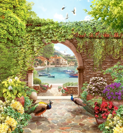 3D Фотообои «Павлины в саду»