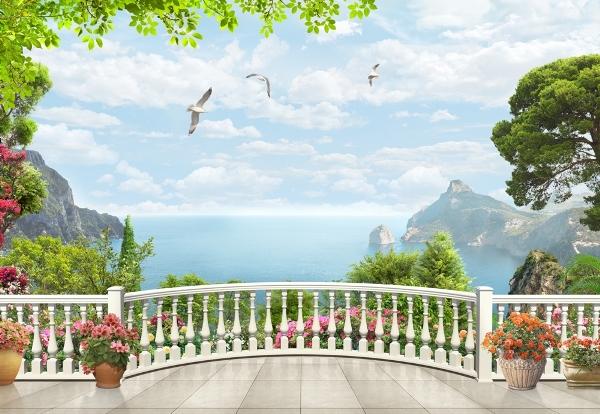 3D фотообои «Вид на залив с белого балкона» вид 1
