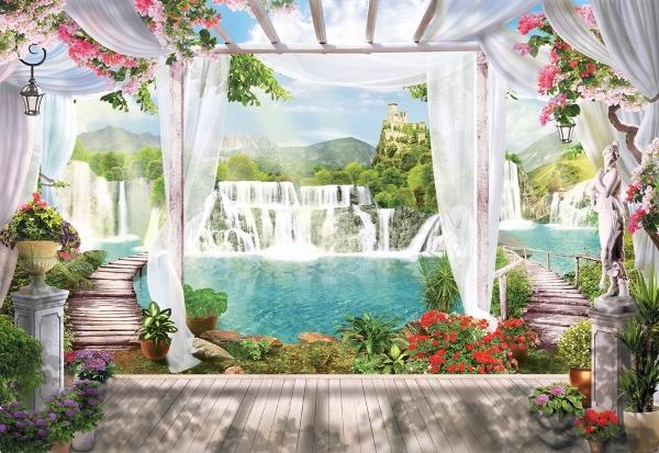 """Фотообои """"3D Фотообои «Мосты к водопадам»"""""""