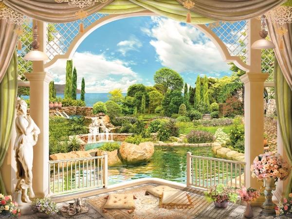 3D Фотообои «Веранда с видом на сад»