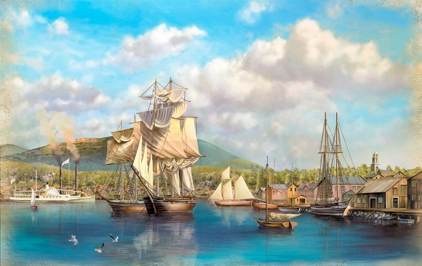 3D Фотообои «Парусники в порту»