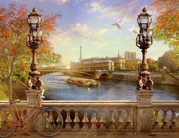"""Фотообои """"3D Фотообои «Осенний город»"""""""