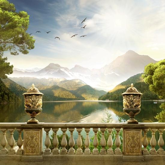 3D Фотообои «Терраса. Горное озеро»