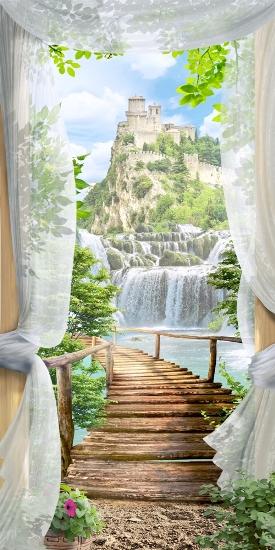 3D Фотообои «Замок над водопадом»