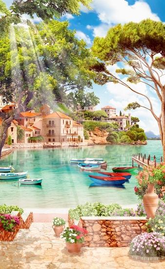 3D Фотообои «Лодочки в заливе»