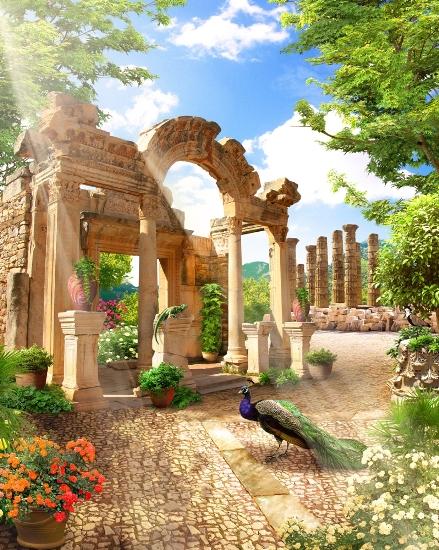 3D Фотообои «Развалины в саду»<br>kit: None; gender: None;
