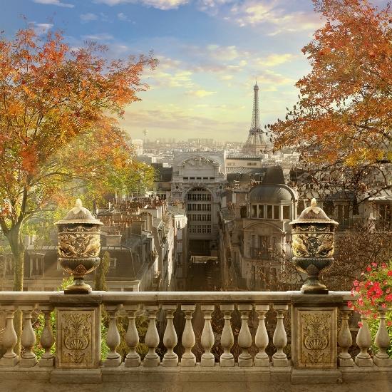 3D Фотообои «Золотая осень в Париже»