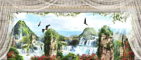 3D Фотообои «Орлы над горными водопадами»