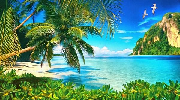 3D Фотообои «Райский пляж»