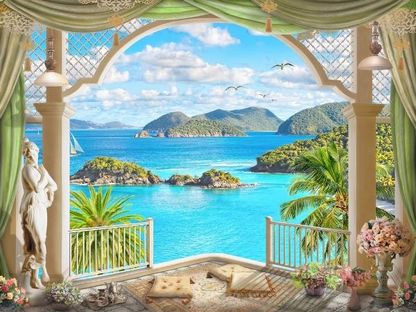 """Фотообои """"3D Фотообои «Вид с веранды на голубой океан»"""""""