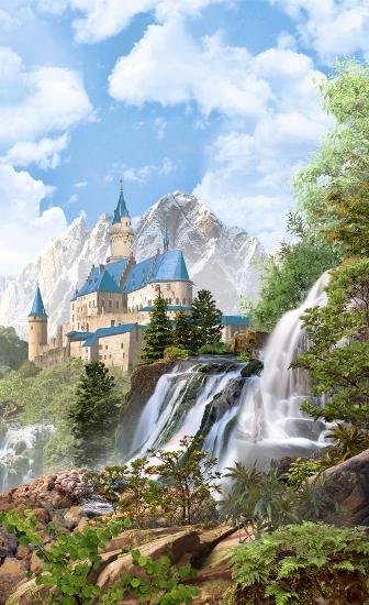 3D Фотообои «Замок в скалистых горах»