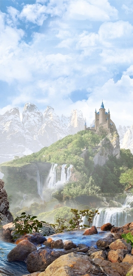 3D Фотообои «Замок на туманной вершине»