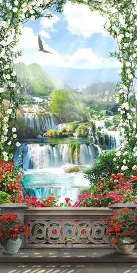 3D Фотообои «Арка из цветов с видом на водопады»