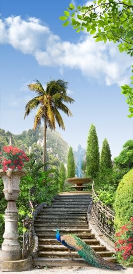 3D Фотообои «Лестница ведущая в тропический сад»